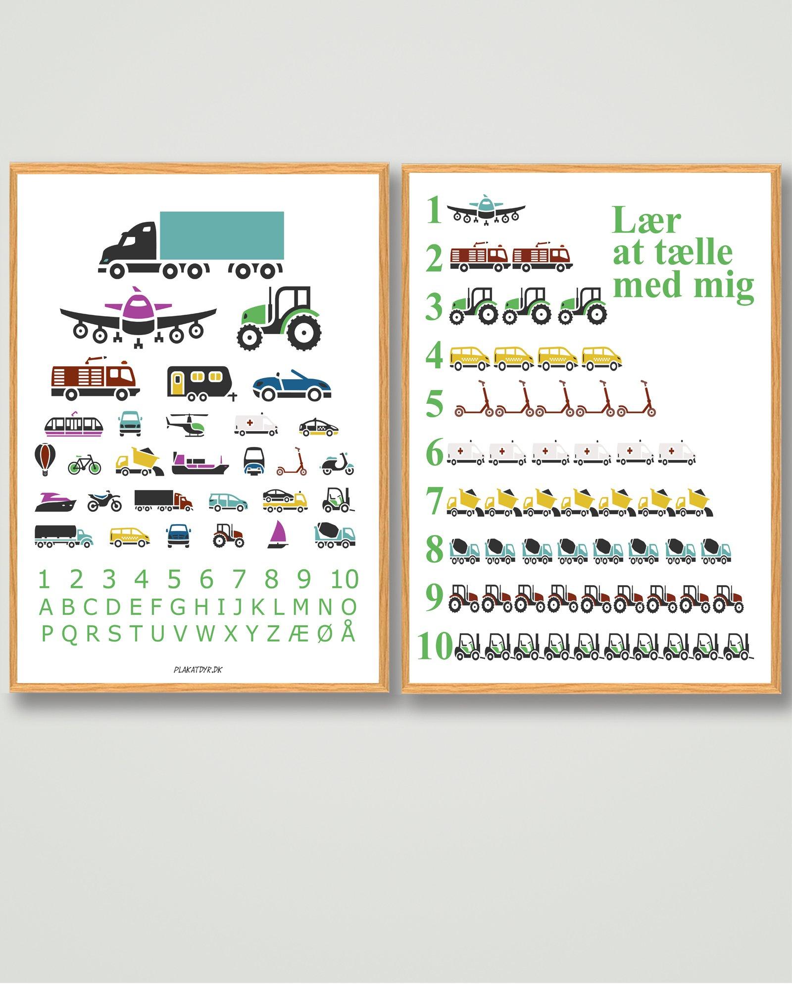 plakatsæt-dreng-børneværelset-biler-abc-talplakat