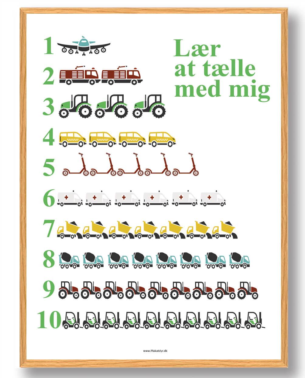 Lær at tælle biler - plakat