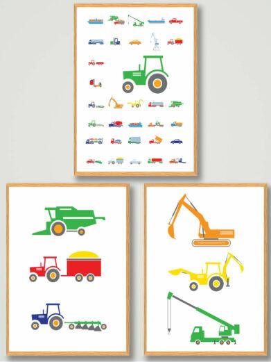 traktor,-biler-plakatsaet-billigt