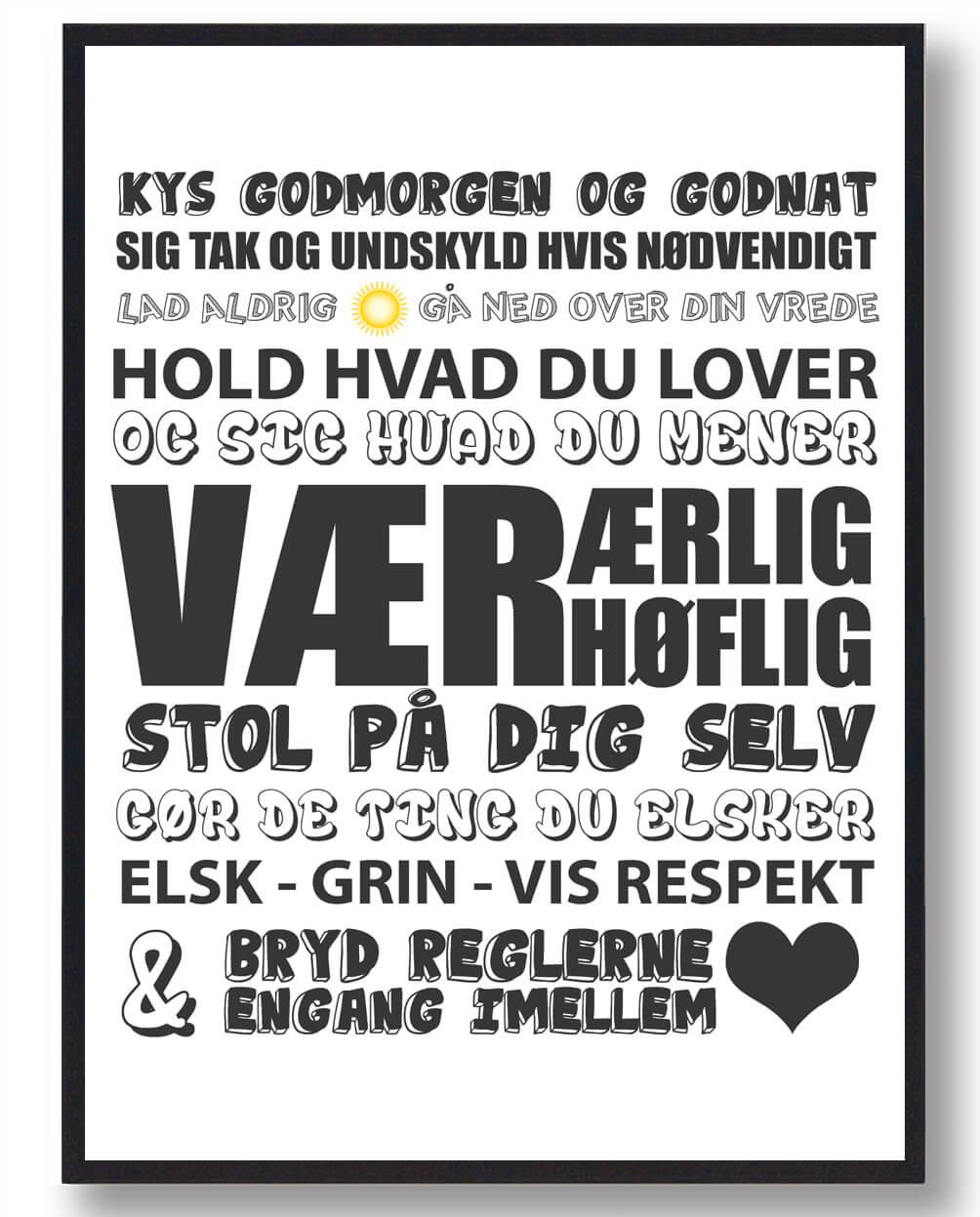 Kys hinanden godmorgenâ?¦ (Hvid) - plakat