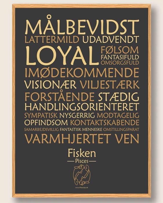 Stjernetegn fisken (sort) - plakat