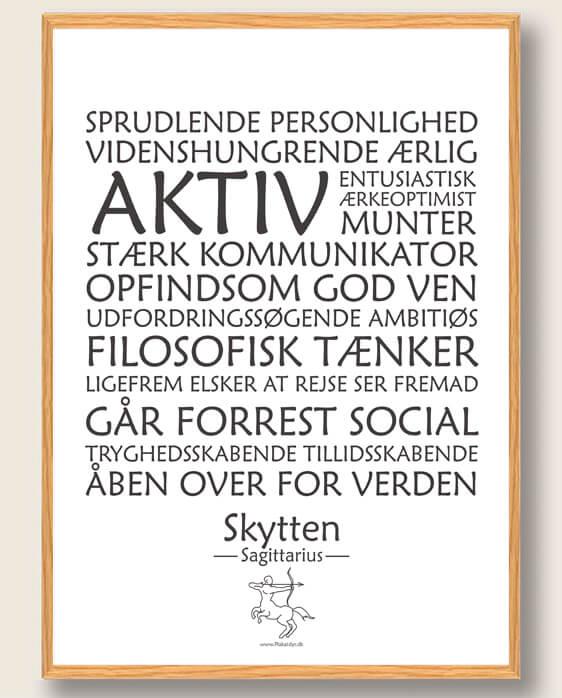 Stjernetegn skytten (hvid) - plakat