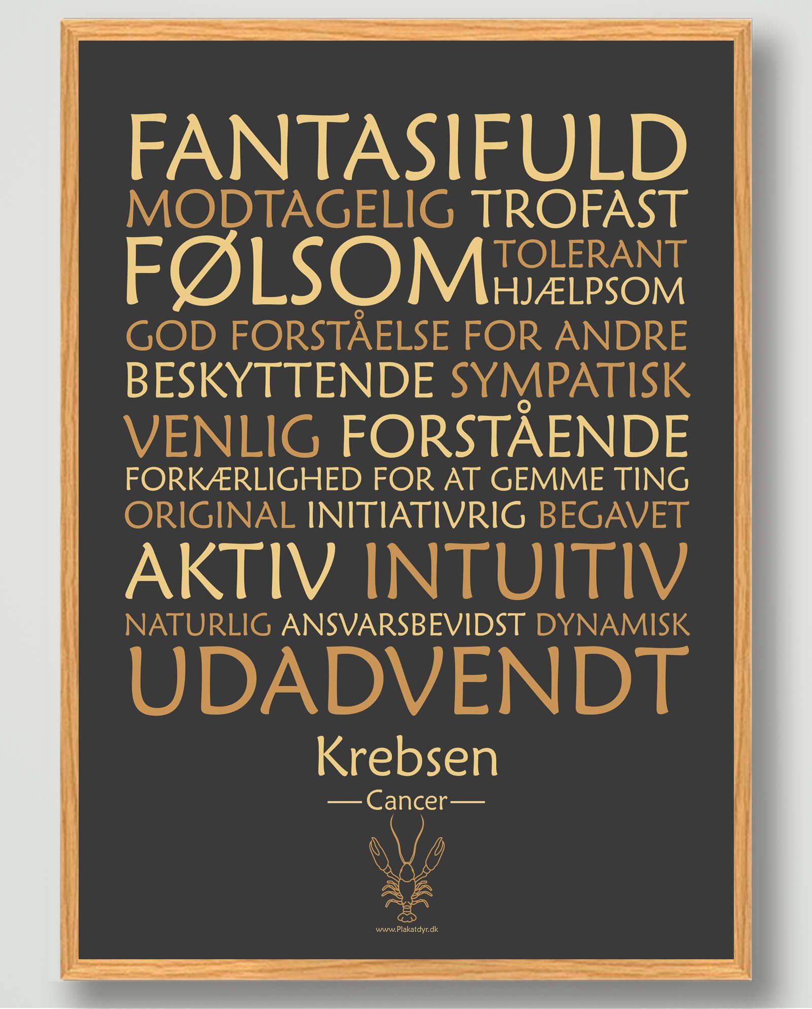 Stjernetegn krebsen (sort) - plakat