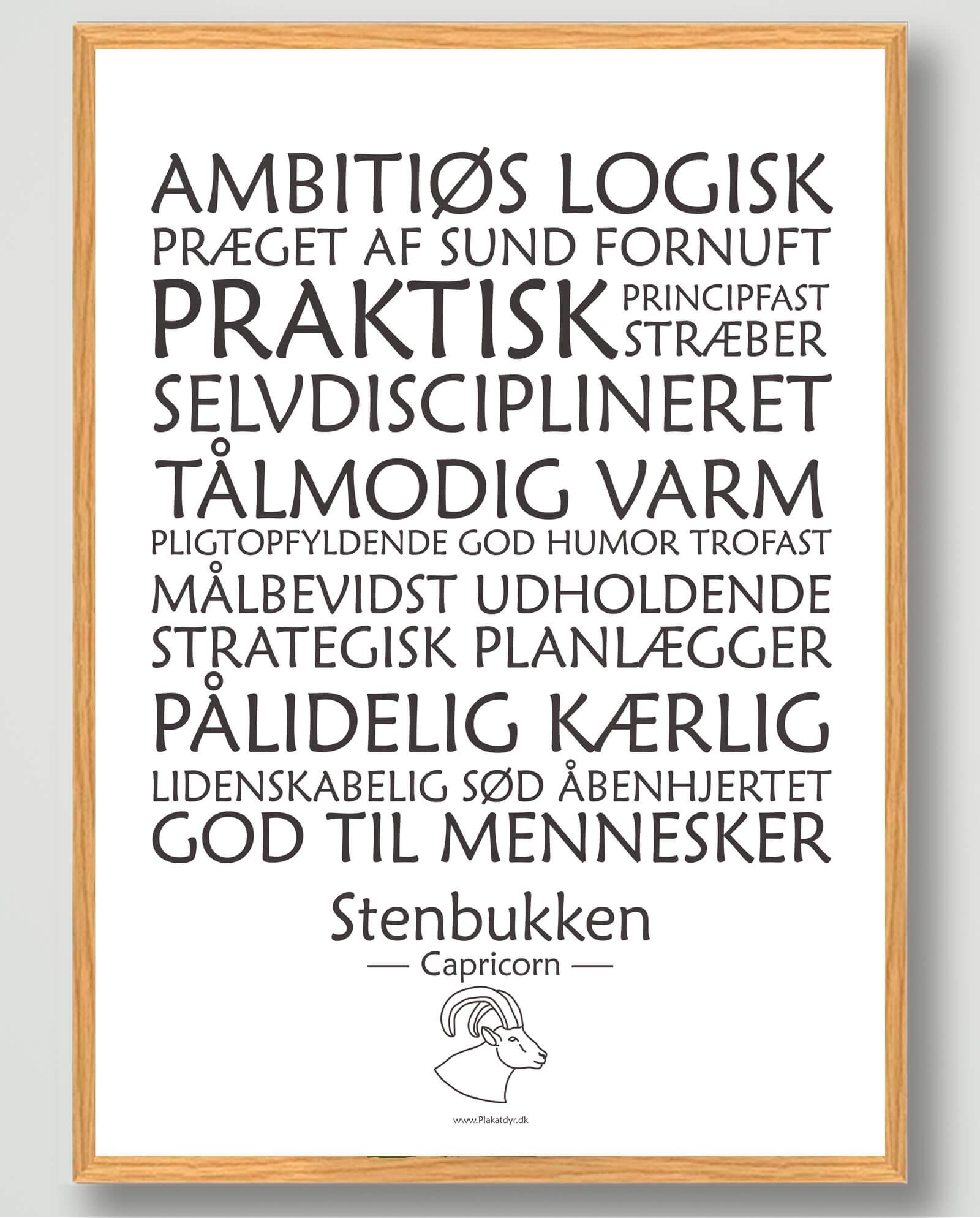 Stjernetegn stenbukken (hvid) - plakat