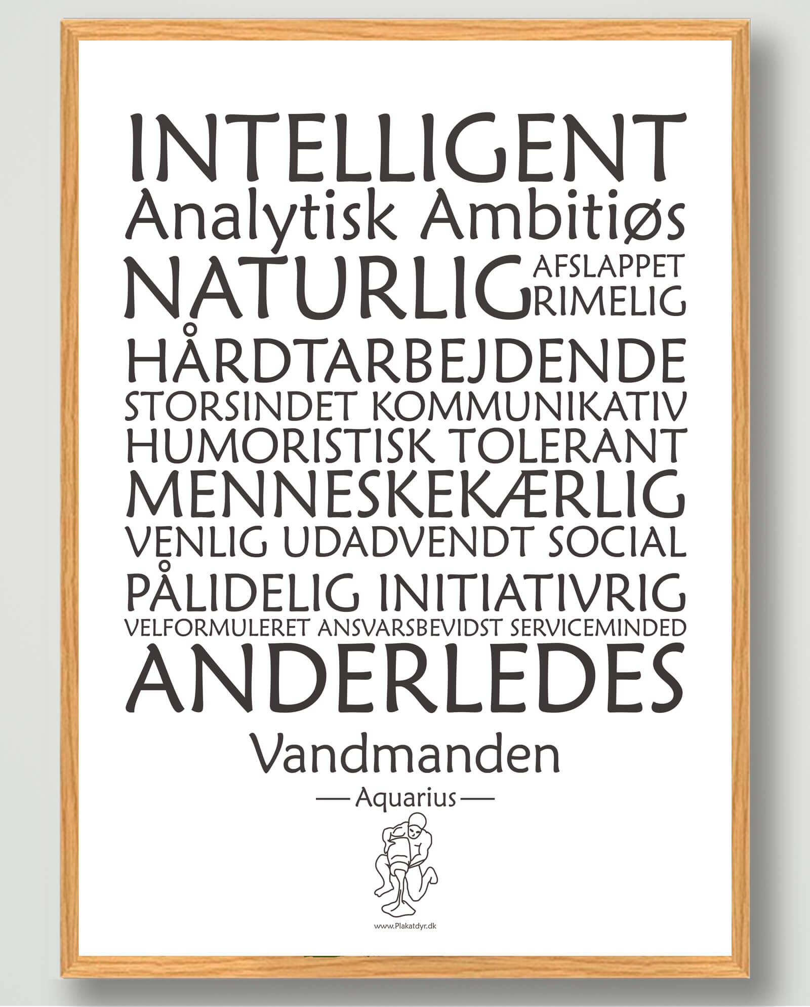Stjernetegn vandmanden (hvid) - plakat