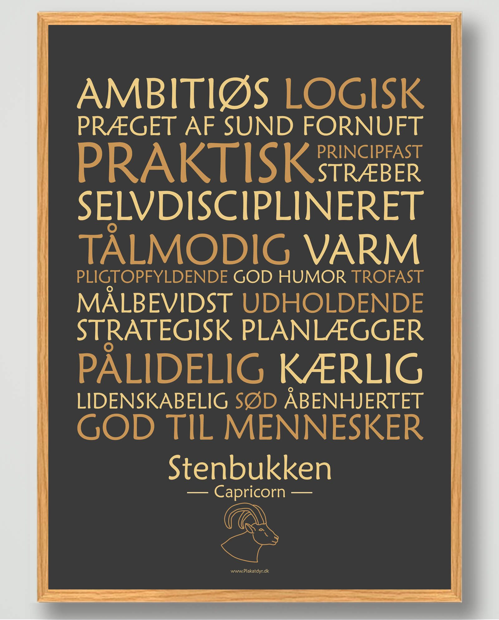 Stjernetegn stenbukken (sort) - plakat