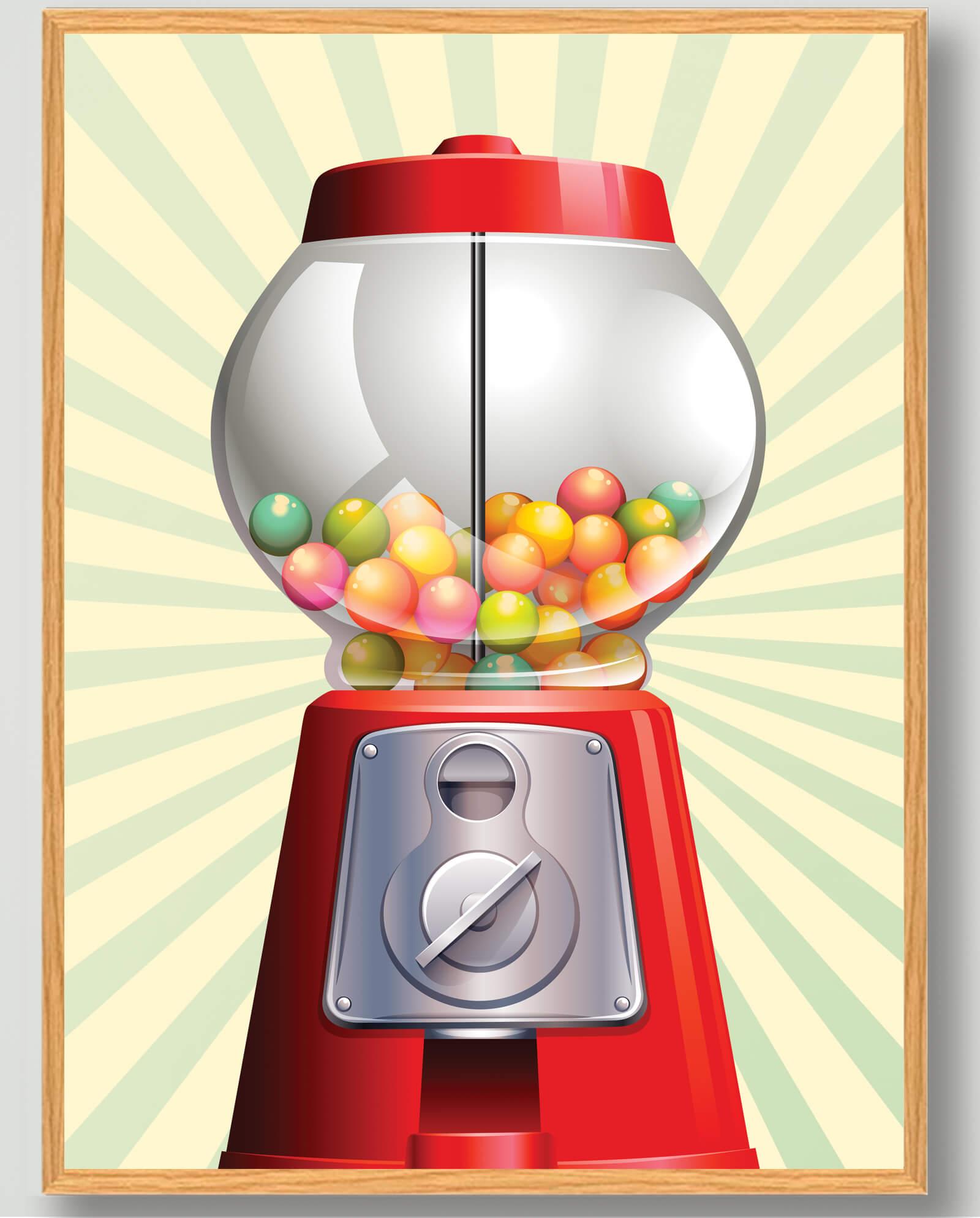 Tyggegummiautomat - plakat