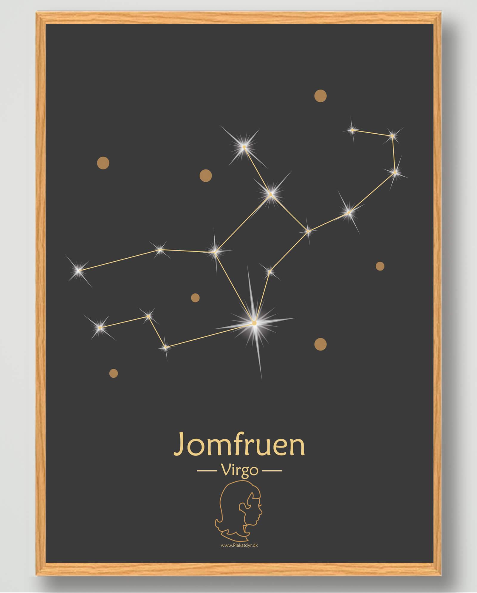 Stjernebillede jomfruen (sort) - plakat