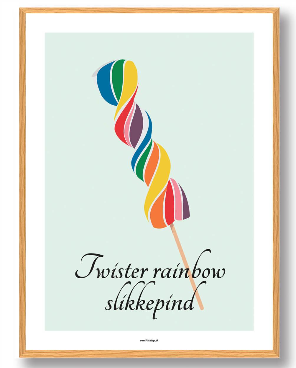Twister rainbow slikkepind - plakat