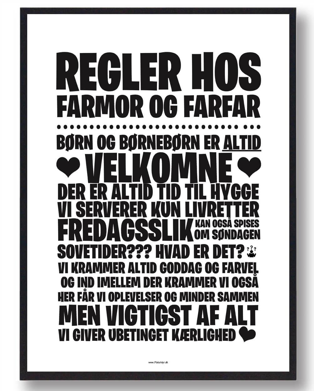 Regler hos Farmor og Farfar - plakat
