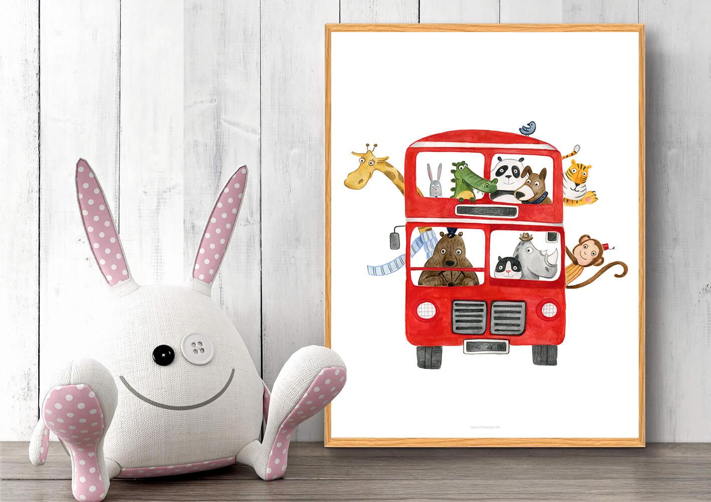 Plakat-med-bus-boernevaerelset-dyr-2