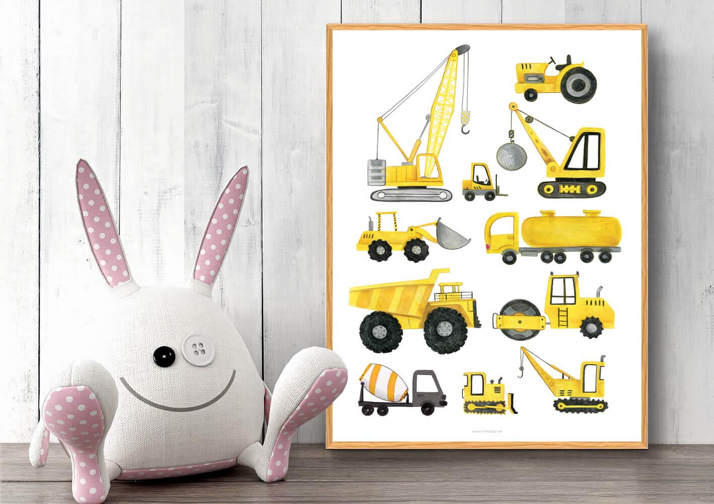 Lastbil-traktor-kran-plakat-håndtegnet-1