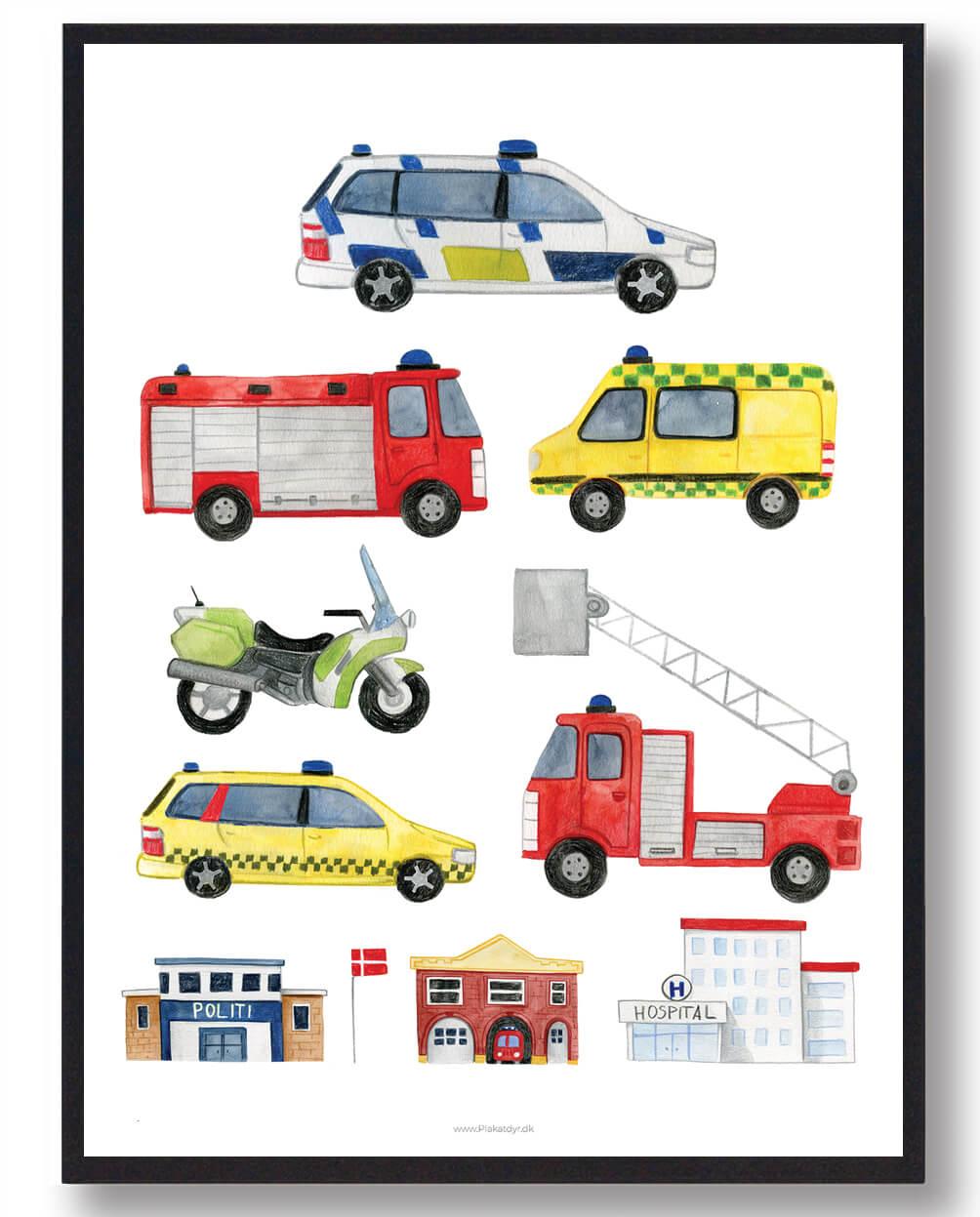 Politi, Ambulance og brandbil - håndtegnet plakat